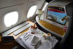 Emirates Airbus A380 interior Royalty Free Stock Photo