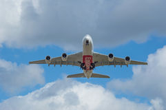Emirates Airbus A380 just taken off Stock Photo