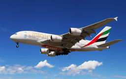 Emirates Airbus A380 landing Royalty Free Stock Photos