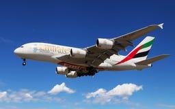 Emirates Airbus A380 landing Royalty Free Stock Photos