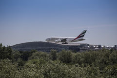 Emirates Airbus A380 Landing at Heathrow Stock Images