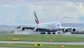 Emirates Airbus A380. Landing at Manchester Airport stock image