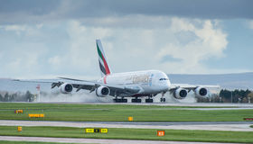 Emirates Airbus A380. Landing at Manchester Airport royalty free stock images