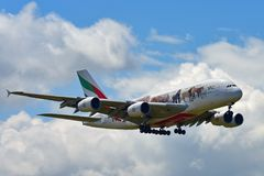 Emirates Airbus A380 super jumbo in United for Wildlife livery landing at Auckland International Airport. AUCKLAND, NEW ZEALAND - DECEMBER 17: Emirates Airbus Royalty Free Stock Images