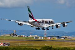 Emirates Airbus A380 super jumbo in United for Wildlife livery landing at Auckland International Airport. AUCKLAND, NEW ZEALAND - DECEMBER 17: Emirates Airbus Stock Photo