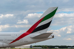 Emirates Airbus A380 tail. MANCHESTER, UNITED KINGDOM - AUG 07, 2015: Emirates Airbus A380 tail livery at Manchester Airport Aug 07 2015 Stock Photography
