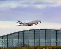 Emirates Airbus a380 Taking off from Heathrow airport Royalty Free Stock Images