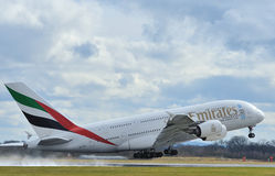Emirates airbus A380. Taking off at Manchester airport royalty free stock photo