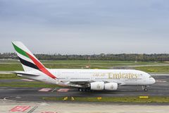 Emirates Airbus A380 taxiing Stock Photos