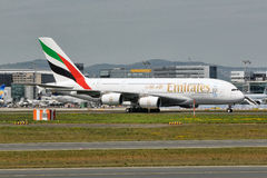 Emirates Airbus A380 taxiing at Frankfurt Airport. Stock Images