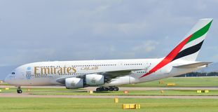 Emirates Airbus A380. Taxiing at Manchester Airport royalty free stock photography