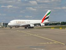 Emirates A380 taxiing at Schiphol. Emirates Airbus A380 taxiing at Schiphol Amsterdam Airport, the Netherlands stock image