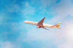 Emirates aircraft is taking off from DXB airport Stock Photos