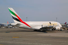 Emirates Airline Airbus A380 at JFK Airport  in New York. NEW YORK -JULY 10  Emirates Airline Airbus A380 at JFK Airport  in New York on July 10, 2014  The Stock Photo