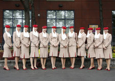 Emirates Airline flight attendants at the Billie Jean King National Tennis Center during US Open 2013 royalty free stock photos