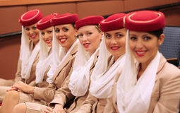 Emirates Airline flight attendants at the Billie Jean King National Tennis Center during US Open 2013 stock images