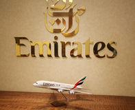 Emirates Airline logo in Dubai Airport lounge at Dubai International Airport Royalty Free Stock Photo