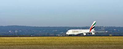 Emirates Airlines A380 on the runway Stock Photos
