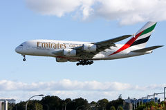 Emirates Airlines Airbus A380 arriving in Sydney,. 18 October 2010: Emirates Airlines announces intentions to expand their fleet of A380 from 90 to 120, however Royalty Free Stock Images