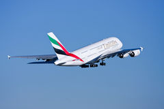Emirates Airlines Airbus A380 in flight. Emirates Airlines Airbus A380 jumbo airliner in flight Stock Image