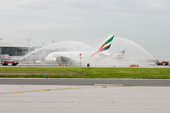 Emirates Airlines Airbus A380 Plane Water Salute Royalty Free Stock Photography