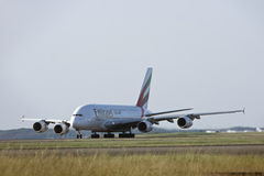 Emirates Airlines Airbus A380 on the runway. Emirates Airlines Airbus A380 jet airliner on the runway Royalty Free Stock Images