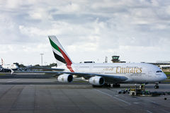 Emirates Airlines Airbus A380 on tarmac. Royalty Free Stock Photo