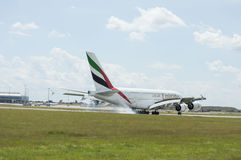 Emirates Airlines Airbus A380 in flight. Royalty Free Stock Photography