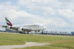 Emirates Airlines Airbus A380 in flight. Stock Photo