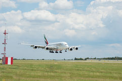 Emirates Airlines Airbus A380 in flight. Royalty Free Stock Images