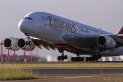 Emirates Airlines A380 airliner taking off Stock Photos