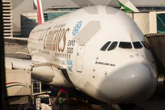 Emirates Airlines A380 double decker plane stock images