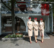Emirates Airlines flight attendants at he Emirates Airlines booth at the Billie Jean King National Tennis Center during US Open Stock Photos