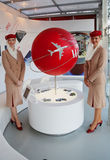 Emirates Airlines flight attendants at the Emirates Airlines booth at the Billie Jean King National Tennis Center during US Open Stock Photos