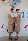 Emirates Airlines flight attendants at the Emirates Airlines booth at the Billie Jean King National Tennis Center during US Open Royalty Free Stock Image