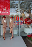 Emirates Airlines flight attendants at the Emirates Airlines booth at the Billie Jean King National Tennis Center during US Open Royalty Free Stock Photos