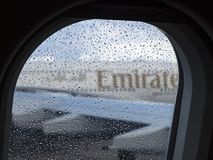 Emirates Airlines, raindrops at the window stock photography