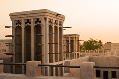 Emirates Architecture. Traditional emirates architecture, a wind tower in an arabic house Stock Image