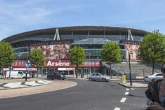 Emirates Arena , Arsenal Stadium. Arsenal Emirates Stadium, London, United Kingdom . A close up view of the Arsenal stadium, Venue of English Premier League at stock photography