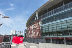 Emirates Arena , Arsenal Stadium. Arsenal Emirates Stadium, London, United Kingdom . A close up view of the Arsenal stadium, Venue of English Premier League at royalty free stock photography