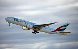 Emirates Boeing 777-200 taking off. Royalty Free Stock Image
