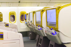 Emirates Boeing 777-300ER aircraft interior Royalty Free Stock Image