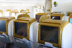 Emirates Boeing 777-300ER aircraft interior Stock Photography