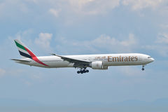 Emirates Boeing 777 landing at Istanbul Ataturk Airport in Turke Stock Photo