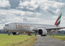 Emirates Boeing 777. At Newcastle airport stock images