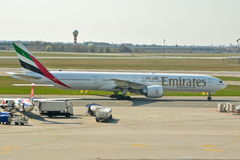 Emirates Boeing 777 view Stock Photography