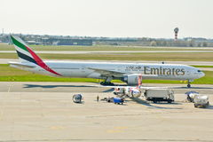 Emirates Boeing 777 view Stock Image