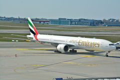 Emirates Boeing 777 view Royalty Free Stock Photo