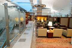 Emirates business class lounge. DUBAI, UAE - NOVEMBER 21, 2015: interior of Emirates business class lounge. Emirates is the largest airline in the Middle East stock photography