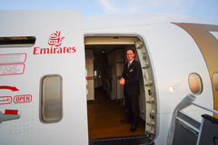 Emirates crew member of Boeing-777 Royalty Free Stock Photography